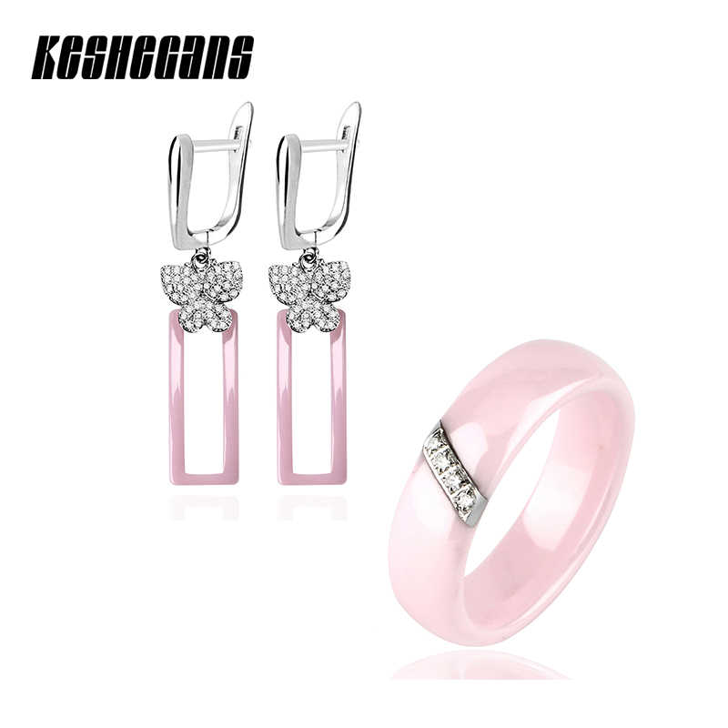 Lovely Pink Jewelry Sets Crystal Butterfly Ceramic Rectangle Earrings And Rhinestone Ceramic Rings For Women Black White Color