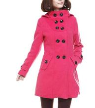 Coats Women Double Breasted Hooded Slim Long Coat Woolen Coat Winter Tide 2016 Winter Wool Coat Blouse Korean Fashion Outerwear