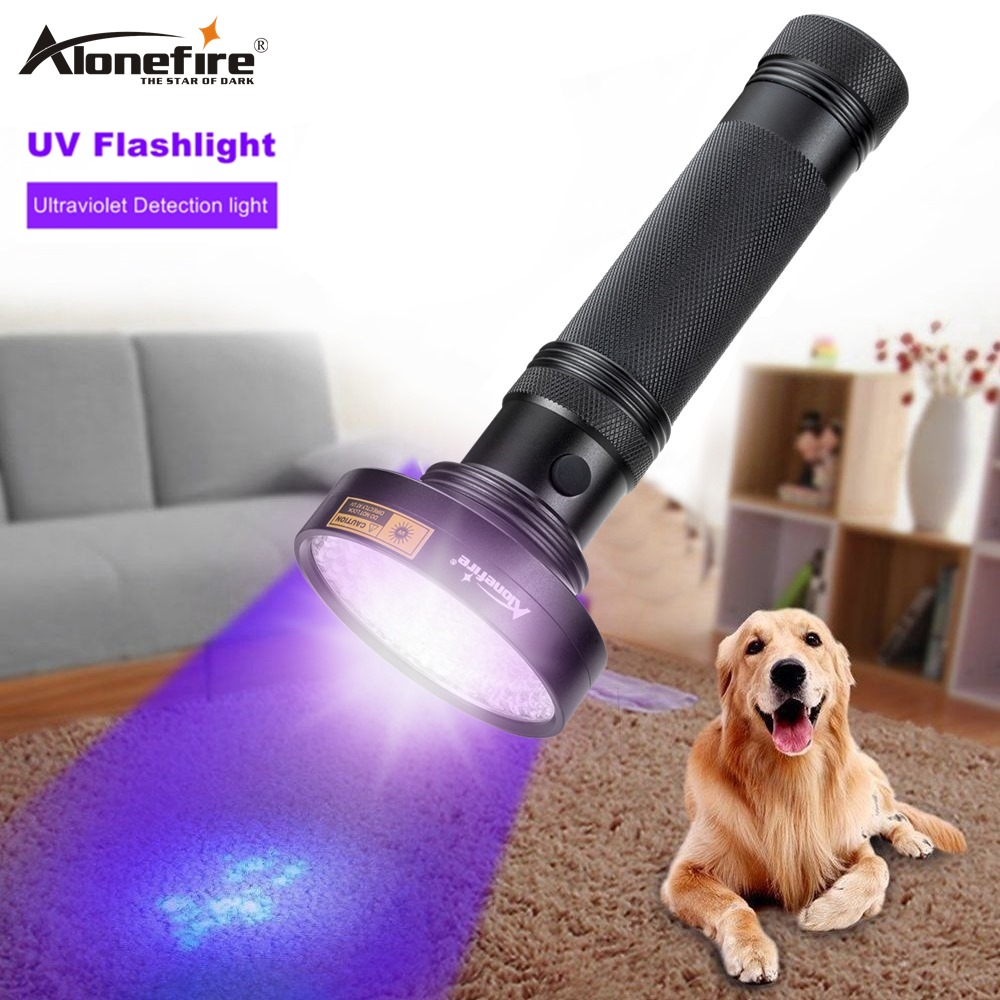 AloneFire <font><b>UV</b></font> Flashlight 100 <font><b>LEDs</b></font> <font><b>395</b></font> <font><b>nm</b></font> <font><b>UV</b></font> Detector Light for Dog Cat Urine Pet Stains Bed Bugs Scorpions Machinery Leaks Inspec image