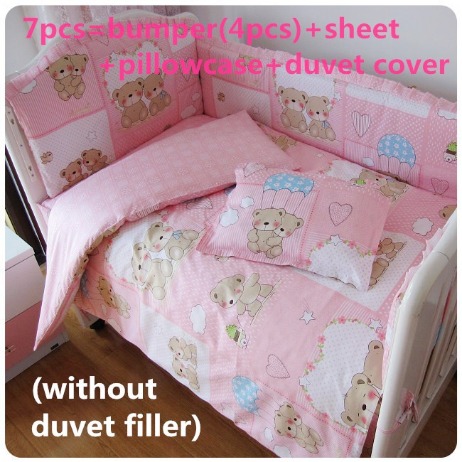 Discount! 6/7pcs 100% cotton baby bedding set for Girl quilt cover crib bumper ,120*60/120*70cm