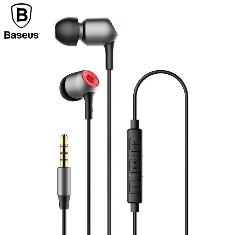 Baseus H02 In-Ear Earphone Stereo Bass Ear Phones Headset With Mic Earbuds Wired Earphone For Phone Fone De Ouvido kulakl k misr t3 wired earphone metal in ear headset magnet for phone with mic microphone stereo bass earbuds