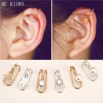 Joker Alloy Moon Heart Earrings For Women Ear Clip U-Shaped Earrings