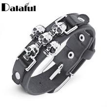 Free Shipping Skeleton Skull Punk Gothic Rock Leather Belt Buckle  Bracelets For Women Men Bracelets & Bangles S301