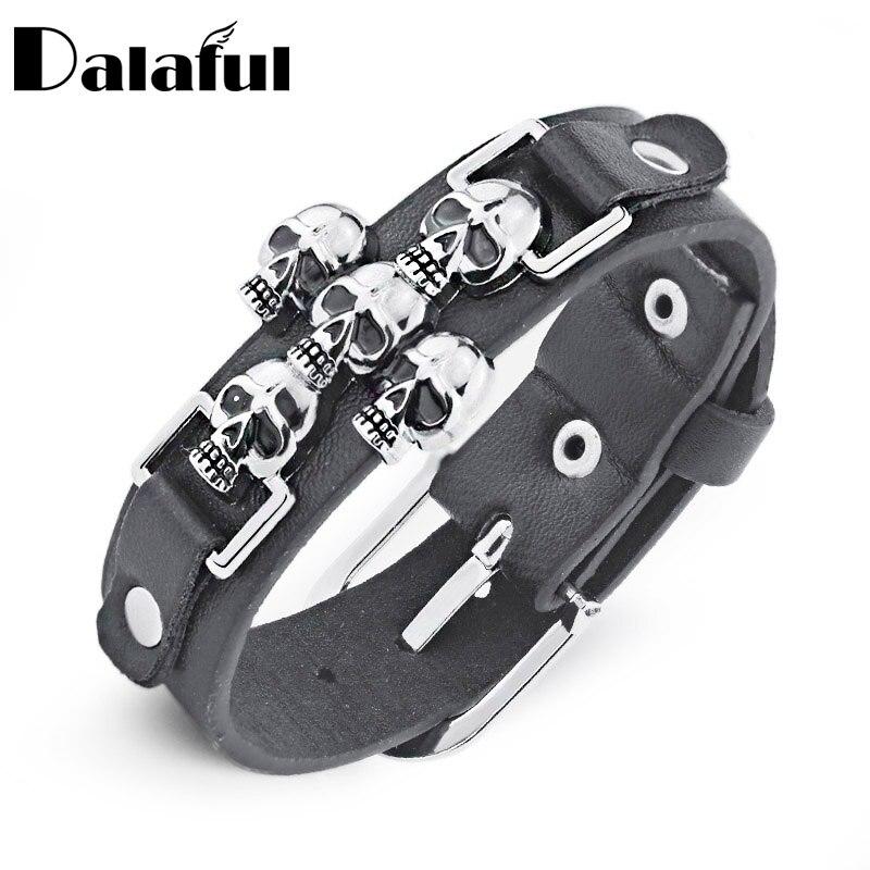Livraison gratuite squelette crâne Punk gothique Rock cuir ceinture boucle Bracelets pour femme hommes Bracelets & Bracelets S301