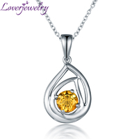 Lovely Natural Citrine 14K White Gold Pendant Necklace Good Gem Fine Jewelry For Girl Gift Wholesale