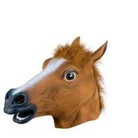 Хэллоуин жутко голова лошади маска Мех животных грива латекса Сумасшедший маски животных Хэллоуин маскарад Детский костюм для вечеринок с...