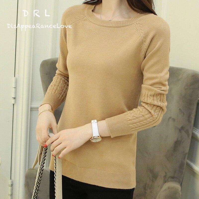 DRL Marca color sólido de Las Mujeres torcido suéter suéter del o-cuello del dis