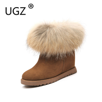 UGZ Winter Boots Woman Genuine Leather Nature Fox Fur Hidden High Wedges Snowboots Ankle Boots Slip
