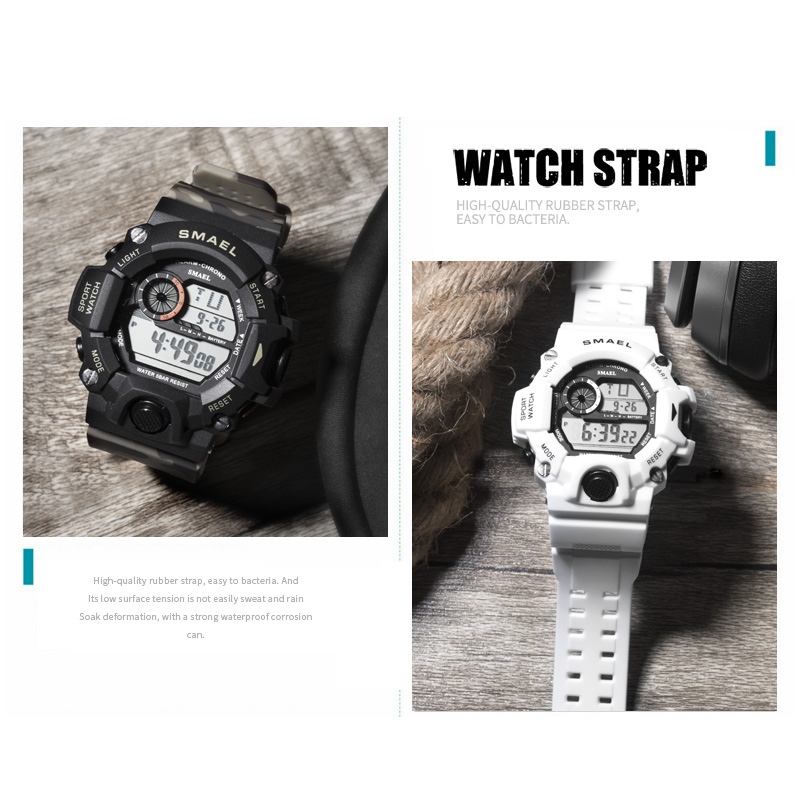 Image 5 - Sport Quartz Digital Watches Male Watch SMAEL Sport Watch Men Waterproof relogio masculino Clock White Digital Military Watches-in Sports Watches from Watches