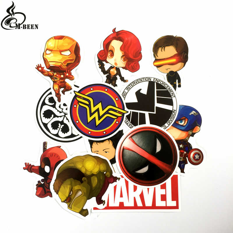 b03d974106f 12pcs lot Cartoon MARVEL deadpool Stickers backpack hulk Wonder Woman For  Car Laptop suitcase Wall