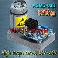 Envío libre, ASMC-03B de Alta potencia servo de alto par 12 V ~ 24 V 180kg. cm 0.5 s/60 Grados de ángulo para el gran robot