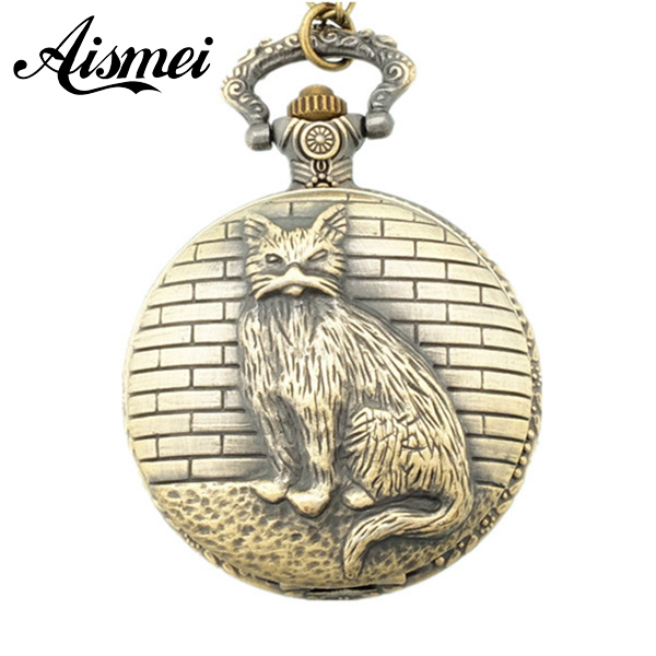 2017 New 1 Bronze Tone Necklace men and women Chain Old Cat Quartz Pocket Watch european and american movies aladdin and the magic lamp quartz pocket watch do the old flip quartz watch chain table ds274