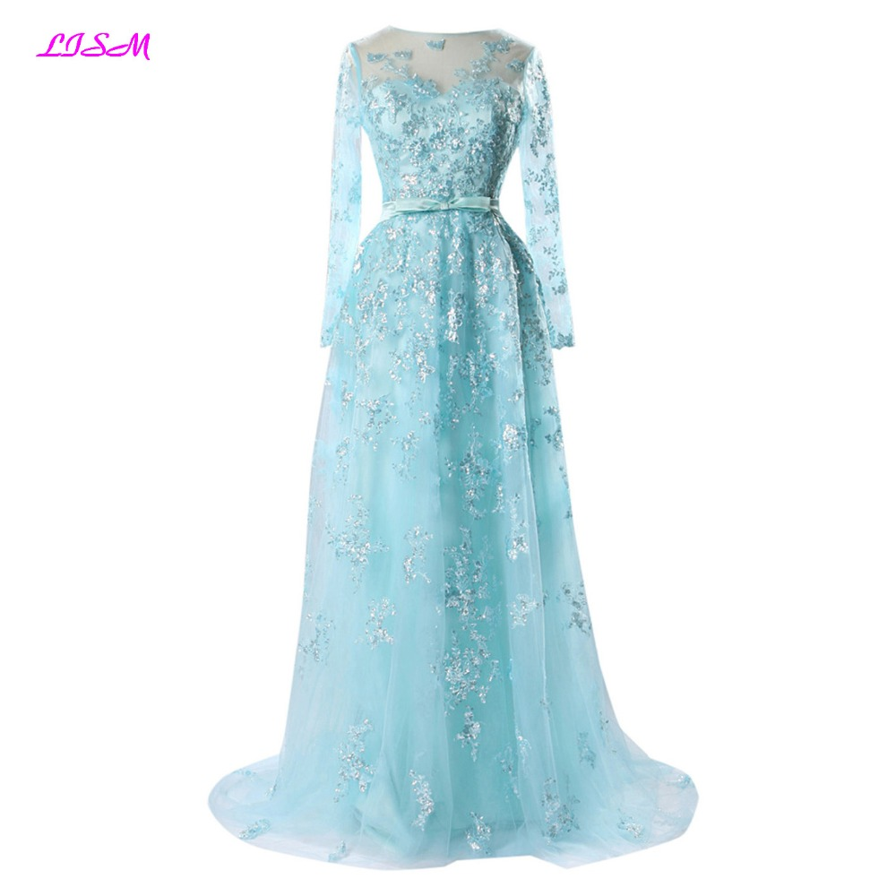 Robe De Soriee New Simple Wedding Dress Full Sleeve Lace: LISM Light Blue Long Prom Dresses 2018 With Sashes Lace