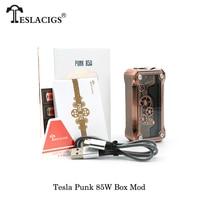 Original Tesla Punk 85W Box Mod Teslacigs Punk Vape Mod E cigs Pwoered 18650 Battery 510 Thread Fit Vaporier Vapor Atomizer