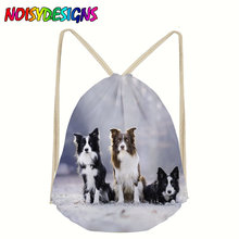 Animals Border Collie Drawstring Bags Shoulder Bags Women 3D Printed Backpack Shoe Travel Pouch Portable rugzak mochila escolar