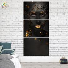 3 Piece Cool Black Make-up Lady Canvas Art Wall Pictures Prints Artwork Cuadros Decoracion