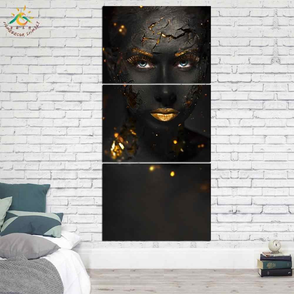 3 Piece Cool Black Make Up Lady Canvas Art Wall Pictures