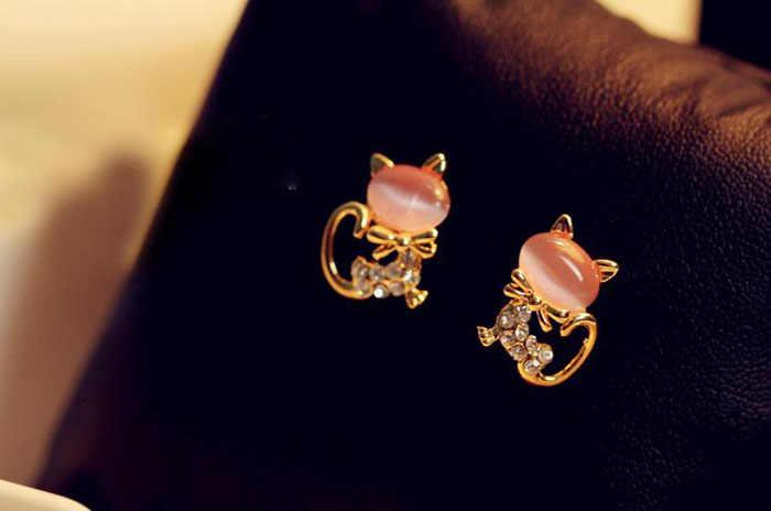קוריאני אופנה חמוד חתול אבן קריסטל ריינסטון נשים עגילי חתונה די ילדה