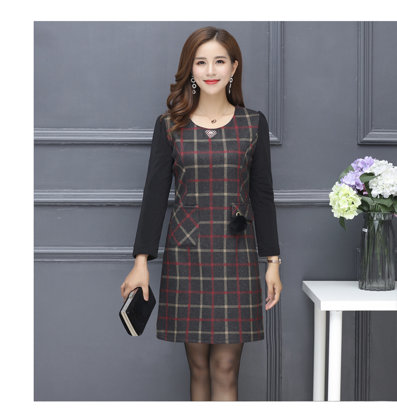 Winter Woman Elegant Tweed Dress Red Yellow Plaid Pattern Blends Robe Femme Thicken Fleece Dresses Woman Warm Shift Dress Office Outfits (5)