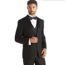 tailor made wool blended suits men fashion groom wedding suits tuxedos black lapel high quality formal suits(jacket+vest+pants)