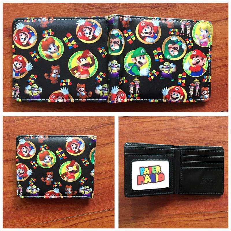 2018 Super Mario World кожаный бумажник сложенный кошелек мультфильм творческий короткие Женские Кошельки W609
