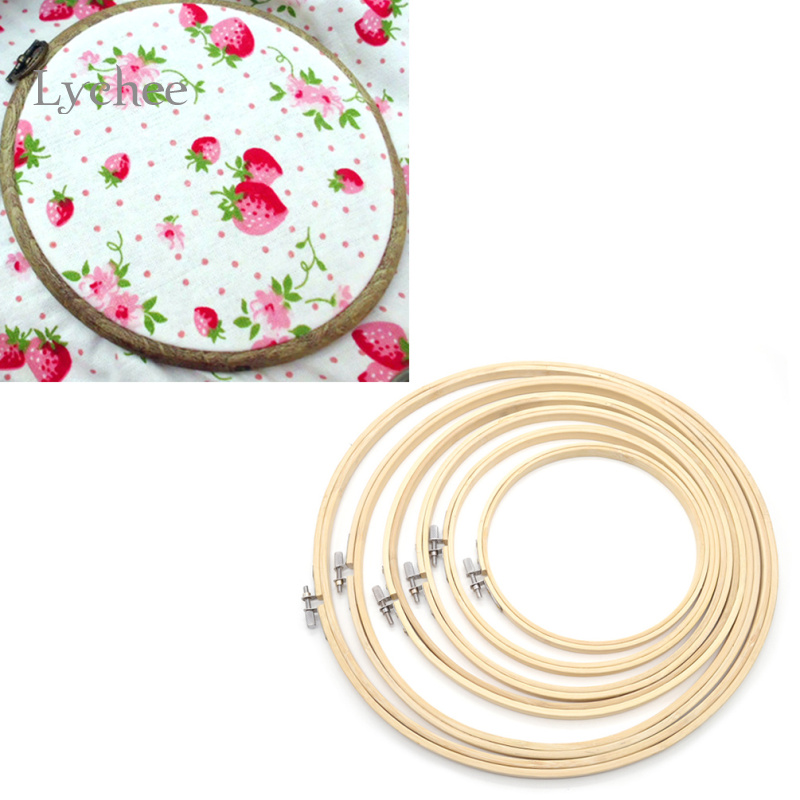Lychee 6 Pieces/Set Embroidery Hoops Frame Bamboo Wooden Rings For Cross-Stitch Needle Arts Craft Sewing Tools And Accessory