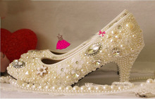 Luxurious Handmade Fashion 6cm mid wedding shoes princess Pearl rhinestone the crystal formal evening dress shoes dress shoes
