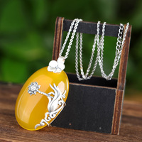 S925 pure silver inlaid with ntural stone chalcedony Guanyin holding lady lotus natural fashion sweater Pendant
