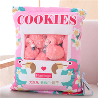 candice guo! cute plush toy one bag cookies lovely flamingo soft stuffed flower pocket cushion pillow birthday Christmas gift 1p