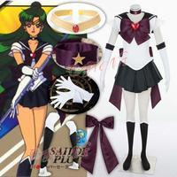 Sexy Dresses Sailor Moon SuperS Setsuna Meiou Sailor Pluto Cosplay Costume Girls Mini Dress Custom Made