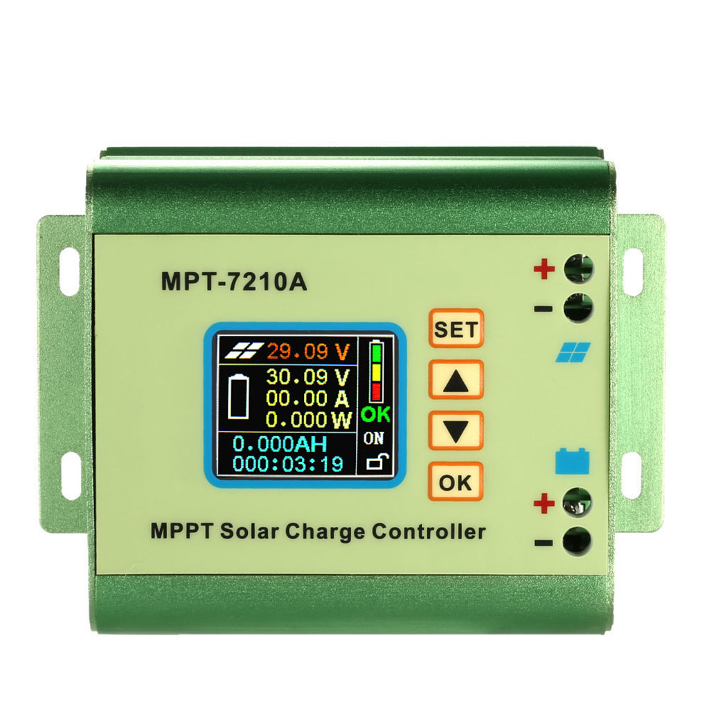 ABKM Hot Mppt Solar Panel Battery Regulator Charge Controller With Lcd Color Display 24/36/48/60/72V 10A With Dc-Dc Boost Char