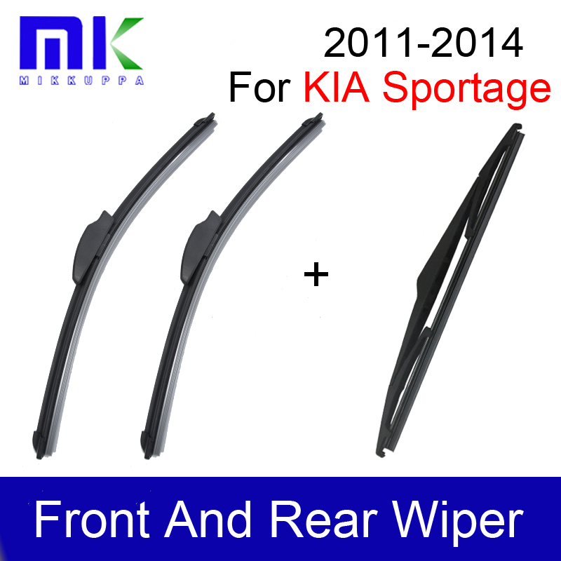 """Front And Rear Wiper Blades For <font><b>Kia</b></font> Sportage 2011 2012 2013 2014 Pair 24\""""+18\"""" Silicone Rubber Windshield Wiper Car Accessories"""