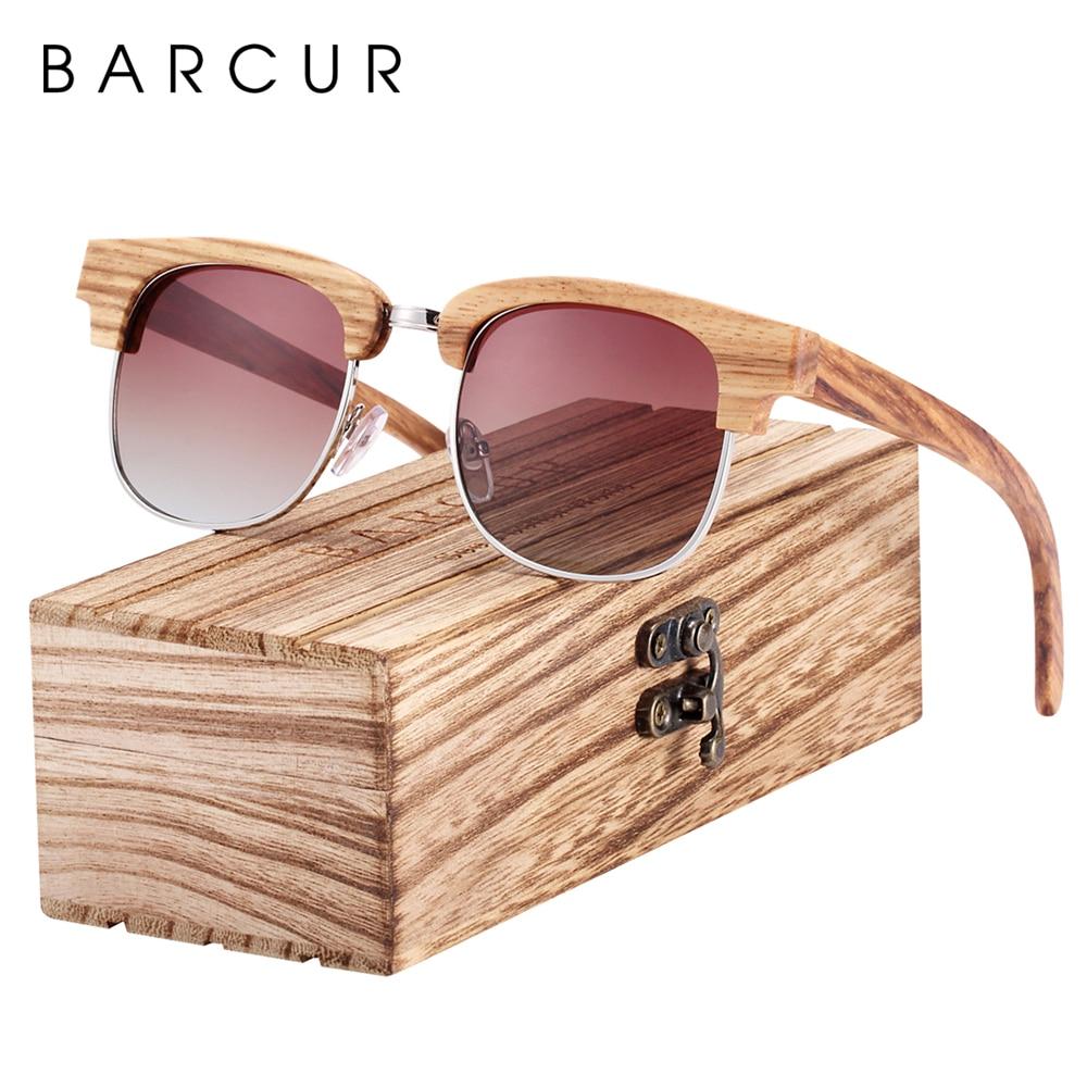 Мужские солнцезащитные очки BARCUR, поляризационные очки в деревянной коробке с градиентным стеклом и защитой UV400