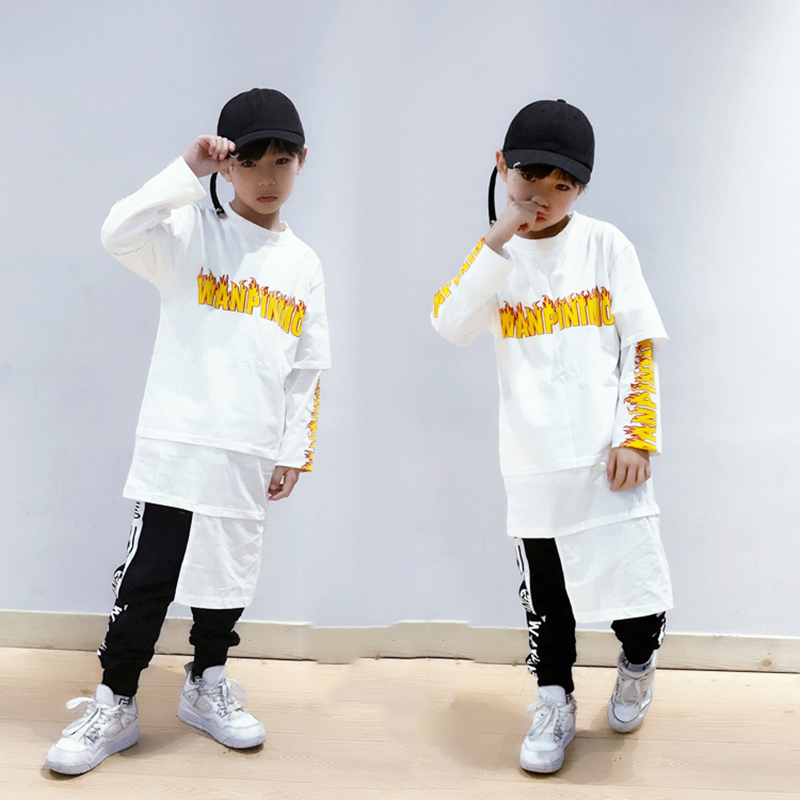 Boys Hip Hop Dance Costume Kids Printed Street Dance Tide T-Shirt Long Sleeve Performance Dance Wear Jazz Dance Costume DQS1490