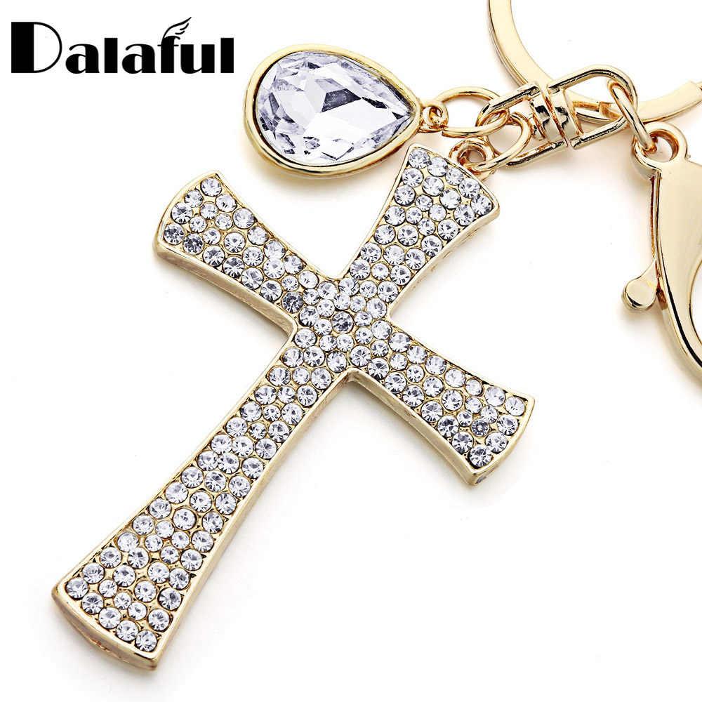 Dalaful, полный кристалл, крест, брелки, брелки, Лаки, КАПЛЕВИДНАЯ подвеска, кошелек, сумка, Подвеска для женщин, брелки, держатель, кольца для автомобиля K365
