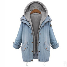 Fashion Women Autumn Winter Overcoat Casual Denim Cowboy Thickening Hoodie Outwear Coat Snow Wram Coat Plus Size 4XL WDC400
