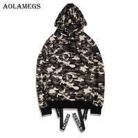 Aolamegs Hot Army Camouflage Hoodies Men Fashion High Street Summer Hip Hop Full Sleeve Military Sweatshirts