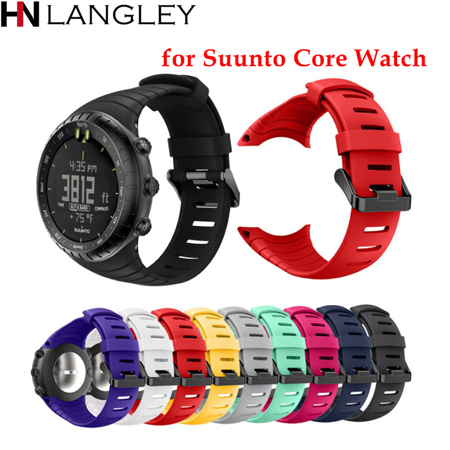 купить Silicone Bands for Suunto Core Watch Band Strap Classic Replacement Soft Wrist Band Strap for Suunto Core Smart Watch 9 Color по цене 543.3 рублей