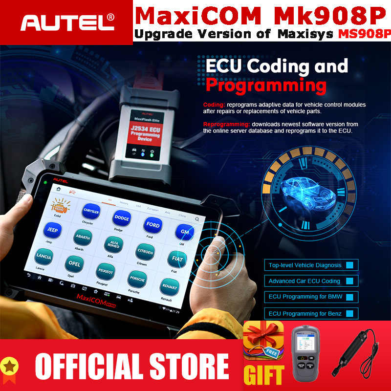 Autel MaxiCOM MK908P OBD2 Automotive Diagnostic Tool Scanner Analysis System OBDII ECU Advanced Coding Programmer PK MS908 Pro