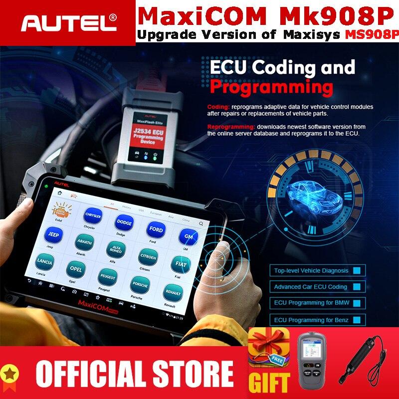 Autel MaxiCOM MK908P OBD2 Automotive Ferramenta de Diagnóstico Scanner OBDII ECU Sistema de Análise Avançada de Codificação Porgrammer PK MS908 Pro