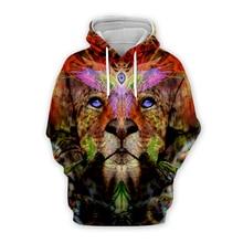 Unisex Trippy lion printed National indian 3d hoodies men women print sweatshirts autumn long sleeve zipper hooded hoody coat