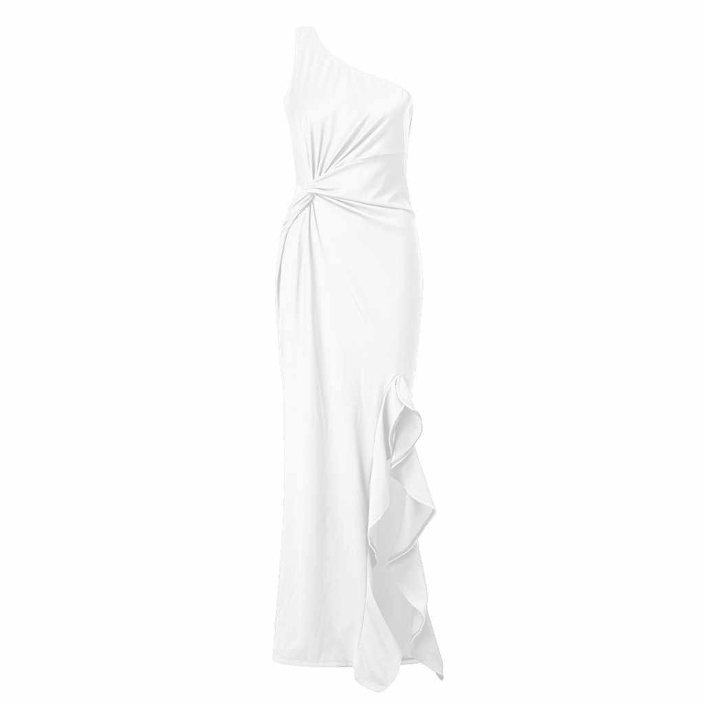 Chamsgend Đầm Thanh Lịch Một Trong Vai Dài Soild Màu Váy 2019 Tay Trắng Hứa Áo Satin Vải Xếp Xù 26. JAN.11