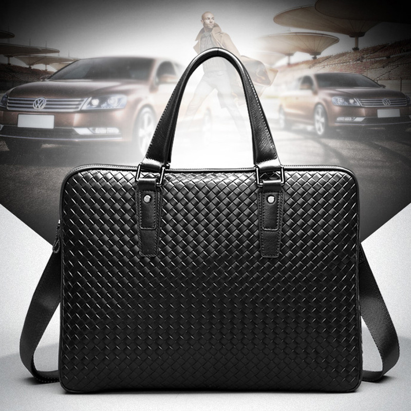 L# handbag Leather embossed woven business Computer Briefcase Crossbody bag man FREE SHIPPING
