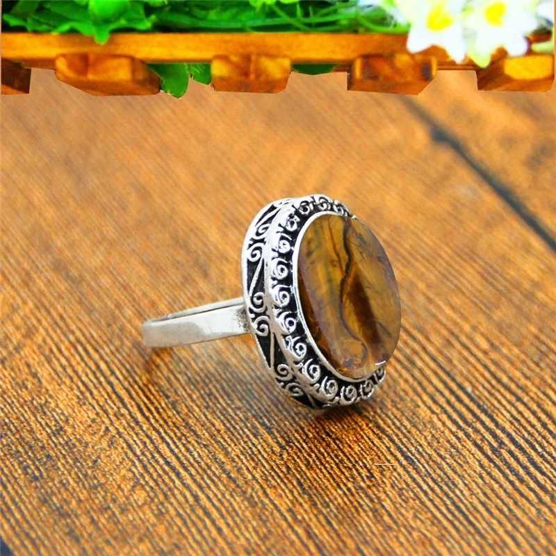 ธรรมชาติ Tiger Eye Stone แหวน Snail ดอกไม้โบราณเงินชุบแหวนแฟชั่นเครื่องประดับ TR677