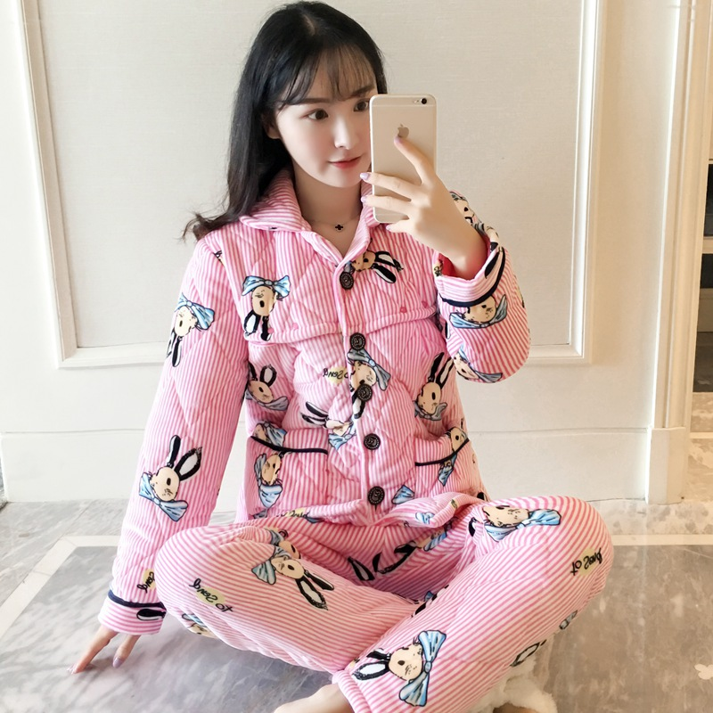 Pregnant Womens Pajamas Thickened Autumn Winter Velvet with Cotton Home Clothing Women SuitPregnant Womens Pajamas Thickened Autumn Winter Velvet with Cotton Home Clothing Women Suit
