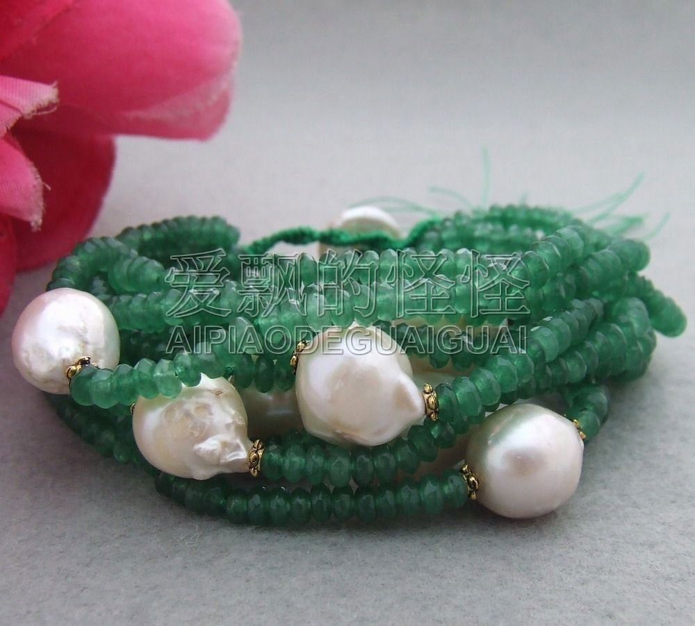 B060809 10 Strands White Reborn Keshi Pearl Green Faceted Bracelet