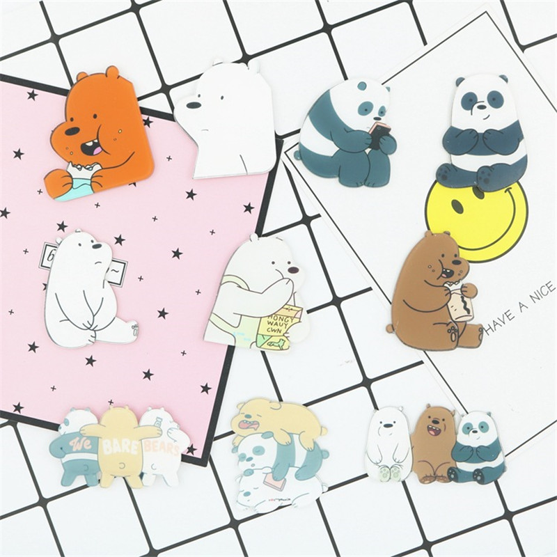 1 PCS Cartoon Animals Acrylic Pins Icons Badges On Backpack Stripe Decoration Little Stupid Bear Brooch Cats Badges For Clothes