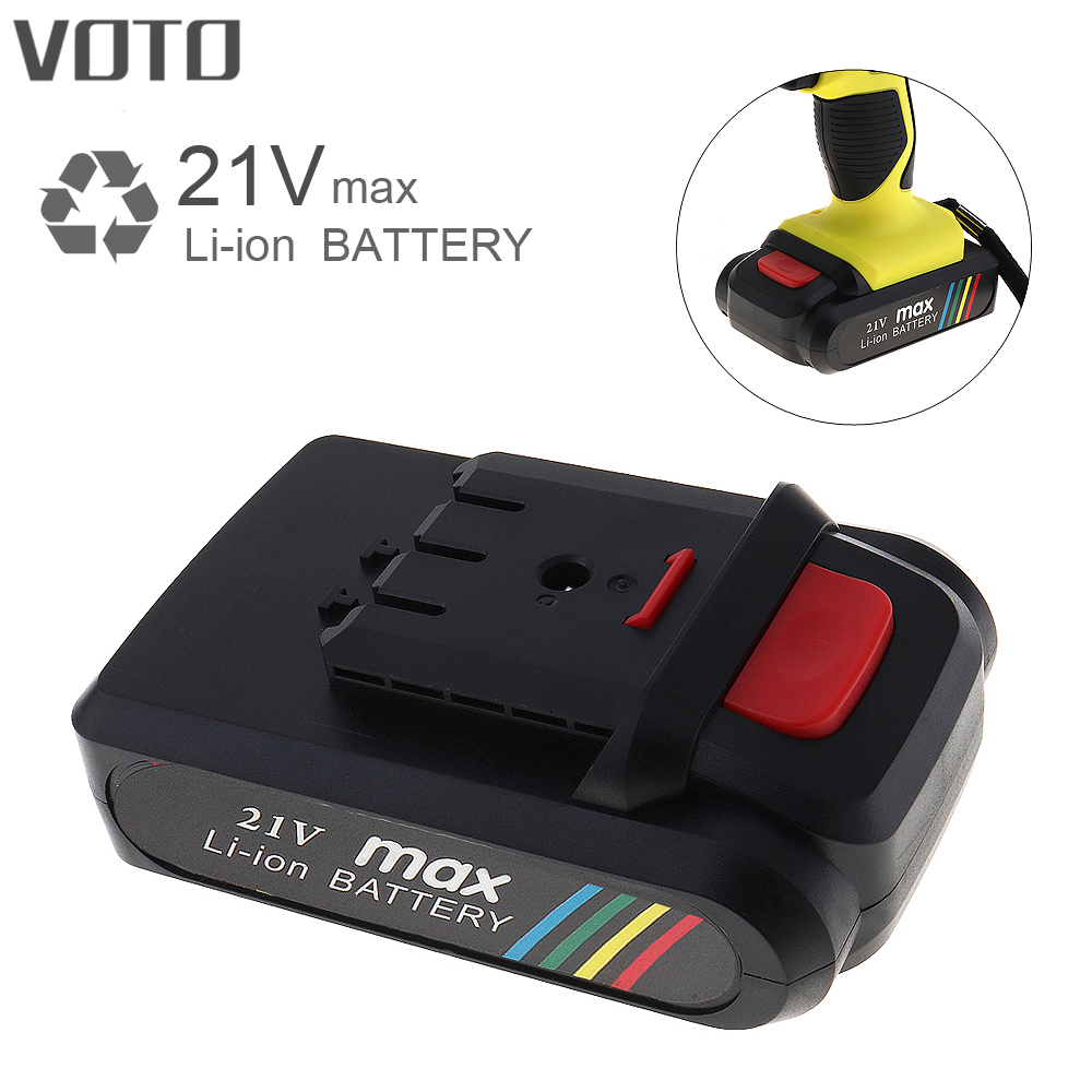 VOTO Universal 21V Max Li-ion Lithium Rechargeable Battery with Flat Push Type for Electric Drill / Electric Screwdriver replacement rechargeable 3 7v 2000mah lithium battery pack with screwdriver for nintendo 3ds