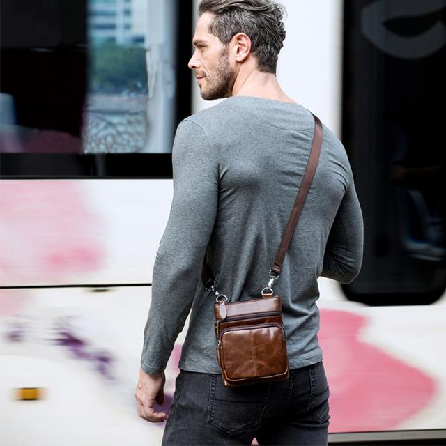 WESTAL Messenger Bag Men's Shoulder Genuine Leather bags Flap Small male man Crossbody bag for men natural Leather bags M701