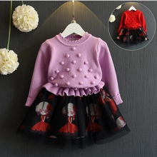 NEAT  2017 baby girl long sleeves dress girl knitting stitching lace princess  Peng Peng with children's clothing Y61051